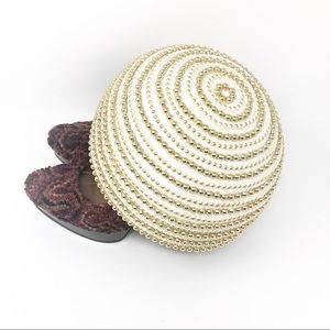Vintage |  Pillbox Hat with Gold Beading